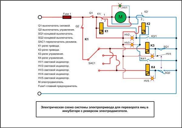 Простая электрическая схема для системы поворота яиц в инкубаторе